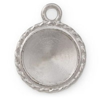 20mm Bright Silver Plated Pewter Round Rivoli Setting (1-Pc)