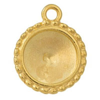 20mm Bright Gold Plated Pewter Round Rivoli Setting (1-Pc)