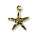 Charm - Starfish 16x18mm Pewter Antique Brass Plated (1-Pc)