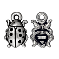 Charm - Ladybug 8x13mm Pewter Antique Silver Plated (1-Pc)
