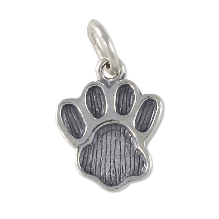 paw print charm 15x12mm sterling silver wholesale