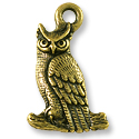 Owl Charm 22x14mm Pewter Antique Brass Plated (1-Pc)