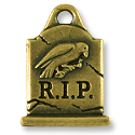 Gravestone Charm 20x15mm Pewter Antique Brass Plated (1-Pc)