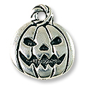 Jack O' Latern Charm 18x15mm Pewter Antique Silver Plated (1-Pc)