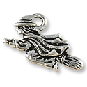 Witch Charm 18x21mm Pewter Antique Silver Plated (1-Pc)