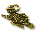 Witch Charm 18x21mm Pewter Antique Brass Plated (1-Pc)