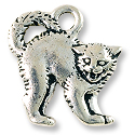 Scary Cat Charm 18x17mm Pewter Antique Silver Plated (1-Pc)
