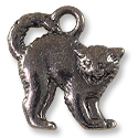 Scary Cat Charm 18x17mm Pewter Gunmetal Plated (1-Pc)