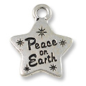 Peace Star Charm 18x15mm Pewter Antique Silver Plated (1-Pc)