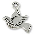 Peace Dove Charm  21x18mm Pewter Antique Silver Plated (1-Pc)