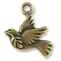 Peace Dove Charm  21x18mm Pewter Antique Brass Plated (1-Pc)