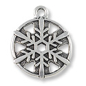 Snowflake Charm 19mm Pewter Antique Silver Plated (1-Pc)