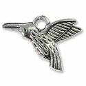 Hummingbird Charm 13x18mm Pewter Antique Silver Plated (2-Pcs)