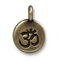 Om Charm with Loop 11.6mm Antique Brass Plated (1-Pc)