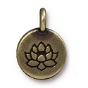 Lotus Charm with Loop 11.6mm Antique Brass Plated (1-Pc)