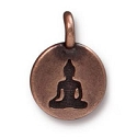 Buddha Charm with Loop 11.6m Antique Copper Plated (1-Pc)
