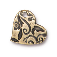 14mm Brass Oxide Amor Heart Charm (1-Pc)