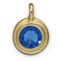 11mm Sapphire Gold Plated Pewter Bezel Drop (1-Pc)