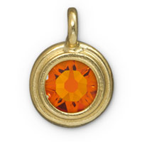 11mm Tangerine Gold Plated Pewter Bezel Drop (1-Pc)