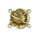 15x13mm Antique Matte Gold 4 Loop Rose Connector (1-Pc)