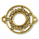 Round Filigree Connector 26x21mm Pewter Antique Gold Plated (1-Pc)