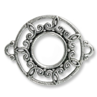 Round Filigree Connector 26x21mm Pewter Antique Silver Plated (1-Pc)
