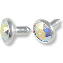 Swarovski Chaton Rivets 6mm Crystal AB Silver Brushed Finish (1-Pc)