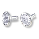 Swarovski Chaton Rivets 7mm Crystal Silver Brushed Finish (1-Pc)