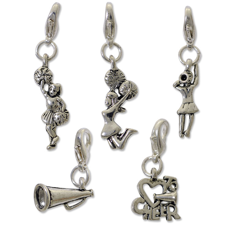 charm set with clasp silver plated bracelet