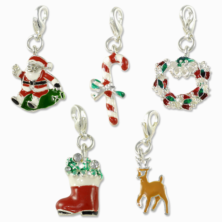 Christmas Charms Set 5 Pcs With Clasp Silver Plated