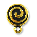 Spiral Post Earring 10mm Pewter Antique Gold Plated (1-Pc)