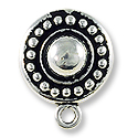 Beaded Clip Earring 15mm Pewter Antique Silver Plated (1-Pc)