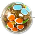 Foil Flower Round Glass Bead 16mm Orange/Light Blue (1-Pc)