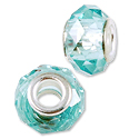 Large Hole Glass Bead 14x8mm Sea Green (1-Pc)