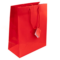 Glossy Red 4x6 Tote Gift Bag