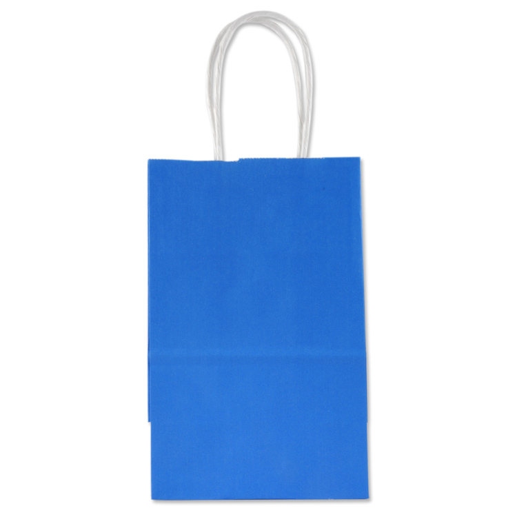 Holiday Blue Paper Gift Bags With White Handle Great For