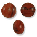 Czech Glass Fire Polished Donut Beads 9x6mm Red/Black/Crystal (10-Pcs)