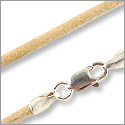 Greek Leather Cord 2.0mm Natural with Sterling Silver Clasp 18