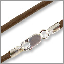Greek Leather Cord 3.0mm Brown with Sterling Silver Clasp 18
