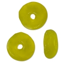 Recycled Glass Rondelle Beads Yellow 11-13mm (10-Pcs)