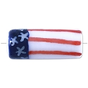 Hand Painted USA Flag Tube Bead 22x9mm (1-Pc)