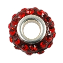 Large Hole Rhinestone Bead 14x9mm Red on Red