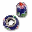 Lampwork Glass Bead Large Hole 13x8mm Blue/Red Flower (1-Pc)