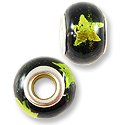 Large Hole Lampwork Glass Bead 13x8mm Black with Lime Green Foil Stars (1-Pc)