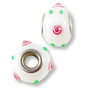 Large Hole Lampwork Glass Bead 13x8mm White with Pink Rose Dots (1-Pc)