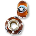 Large Hole Lampwork Glass Bead 13x8mm Amber with Blue, Black and White Eyes (1-Pc)