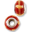 Large Hole Lampwork Glass Bead 13x8mm Brick Red with Tan Lines (1-Pc)