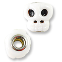 Large Hole Lampwork Glass Bead 16x15mm Skull (1-Pc)