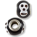 Large Hole Lampwork Glass Bead 13x8mm Black with Skull (1-Pc)