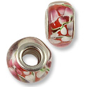 Large Hole Lampwork Glass Bead 10x14mm Red/White Flower (1-Pc)